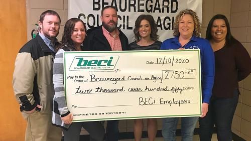 Beauregard Parish Council on Aging with check from BECi