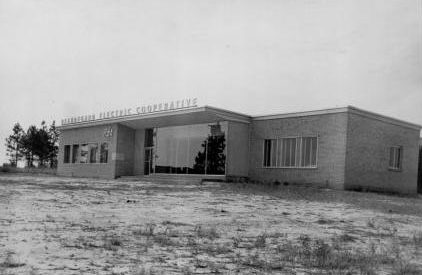 black and white photo of Beauregard electric building