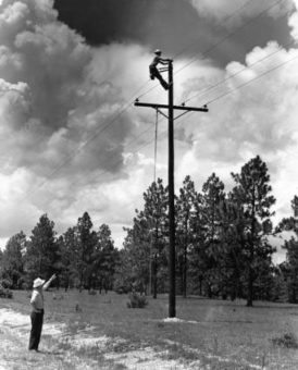 black and white photo of lineman on power pole