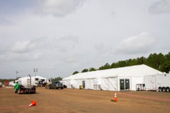 white tent set up outside